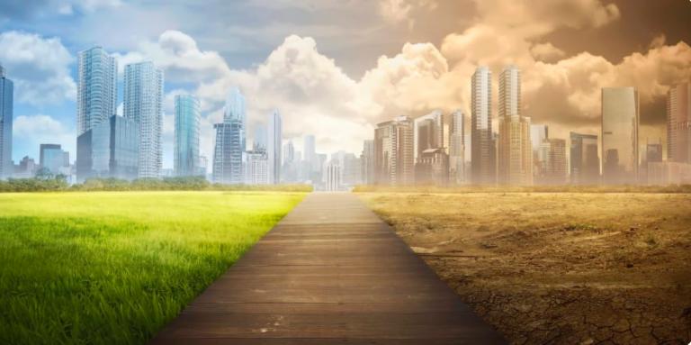 Photo opposant un espace vert et un endroit pollue